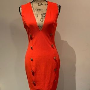 Orange bodycon v neck party dress!!!